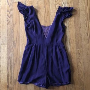 Purple romper with lace insert